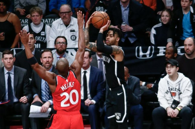 Former Brooklyn Nets and current Golden State Warriors guard D'Angelo Russell (1) was ejected for the first time in his NBA career during a blowout loss to the Oklahoma City Thunder on Sunday. File Photo by Nicole Sweet/UPI