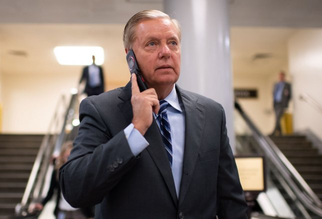 Sen Lindsey Graham, R-S.C., on Thursday sent a letter to Secretary of State Mike Pompeo requesting documents related to former Vice President Joe Biden's communications with Ukrainian officials. Photo by Kevin Dietsch/UPI