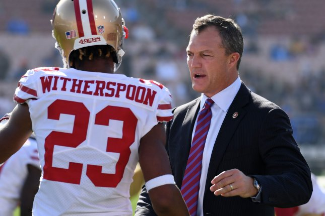 San Francisco 49ers general manager John Lynch (R) and the team reached an agreement on a five-year extension that will tie him to the franchise through the 2024 season. File Photo by Jon SooHoo/UPI