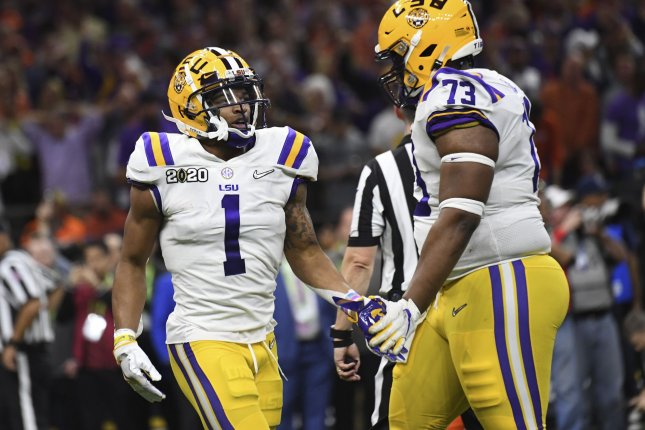 LSU standout wide receiver Ja'Marr Chase (1) led the FBS in receiving yards and touchdowns last season. File Photo by Pat Benic/UPI