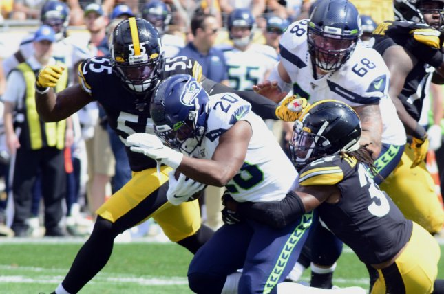 Pittsburgh Steelers linebacker Devin Bush (55) sustained a significant knee injury during Sunday's game against the Cleveland Browns. File Photo by Archie Carpenter/UPI