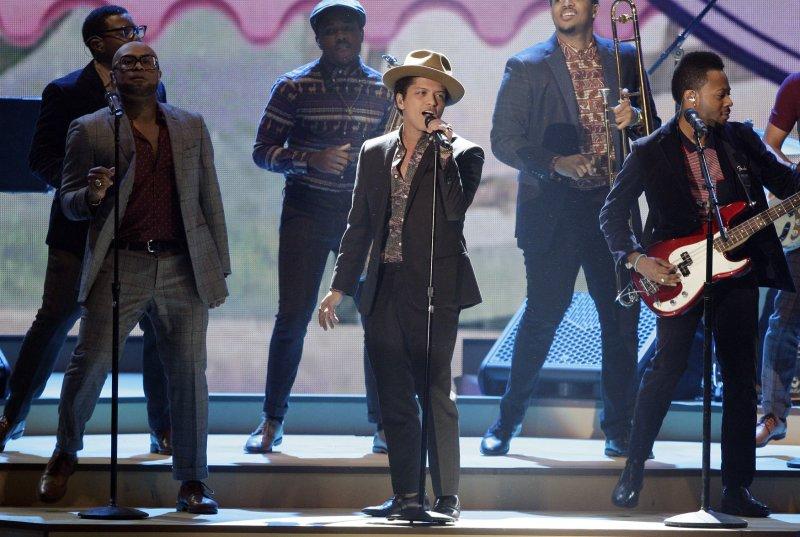 Bruno Mars performs at the Victoria's Secret Fashion Show at the Lexington Avenue Armory in New York City on November 7, 2012. UPI/John Angelillo .