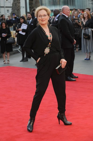 Meryl Streep attends the world premiere of Florence Foster Jenkins at Odeon Leicester Square in London in April. On Monday, she performed what the audience considered an hilarious portrayal in Central Park of presidential hopeful Donald Trump. File Photo by Paul Treadway/ UPI