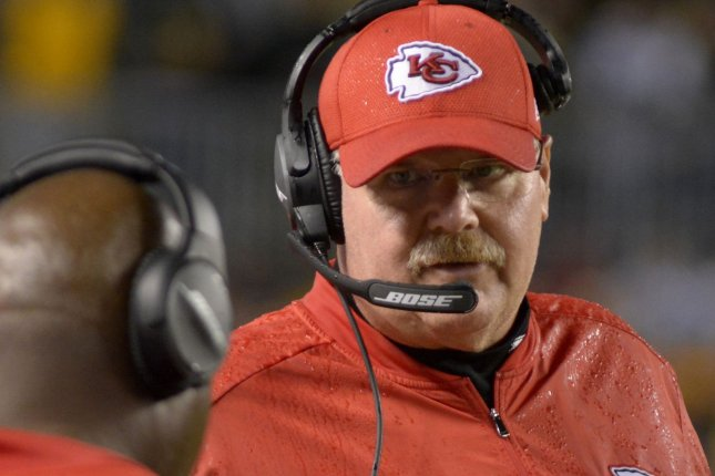 Kansas City Chiefs head coach Andy Reid on the sidelines at Heinz Field against the Pittsburgh Steelers in Pittsburgh on October 2, 2016. Photo by Archie Carpenter/UPI