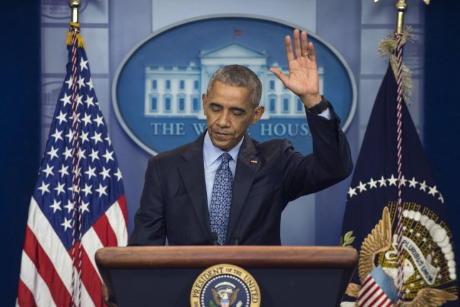 President Barack Obama waves goodbye after answering the final question durring his final press conference of his administration in the Brady Press Briefing Room at the White House in Washington, D.C. on January 18, 2017. Obama spoke on a range of issues including a free press and the need to continue voting rights. Photo by Pat Benic/UPI
