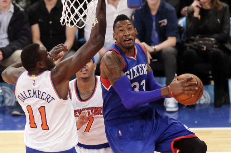 Philadelphia 76ers Robert Covington leaps under the basket in the second half against the New York Knicks at Madison Square Garden in New York City. File photo by John Angelillo/UPI