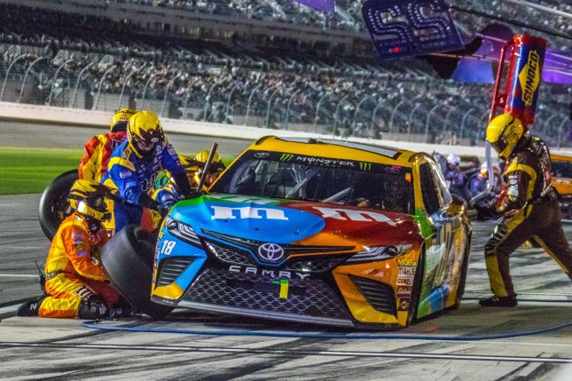 Kyle Busch pits for service late in the Can-Am Duel 1 on February 23, 2017 in Daytona, Florida. Busch won the pole for the Pocono 500. File photo by Edwin Locke/UPI
