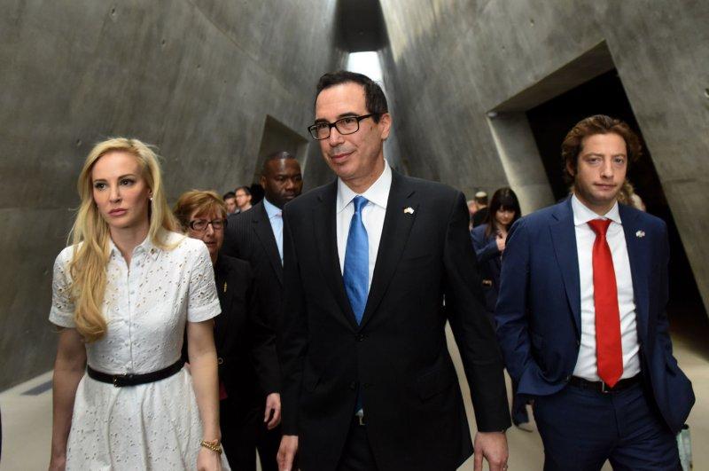 U.S. Treasury Secretary Steven Mnuchin and his wife Louise Linton visit the Yad Vashem Holocaust Museum in Jerusalem, Israel, on Thursday. Photo by Debbie Hill/UPI