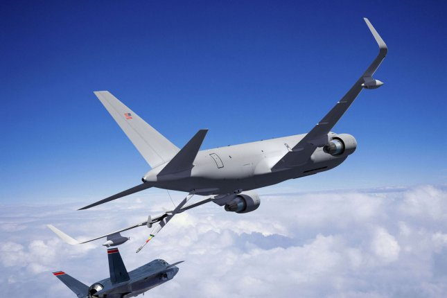 In this artist's conception, a Boeing KC-46A prepares to refuel an F-35 in flight. Photo courtesy of Boeing