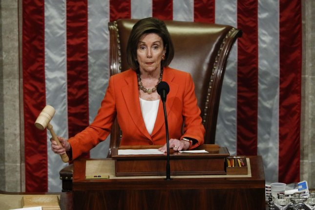 House Speaker Nancy Pelosi wields the gavel as the U.S. House of Representatives votes for a resolution that sets up the next steps in the impeachment inquiry of President Donald Trump. Pool Photo by Tom Brenner/UPI