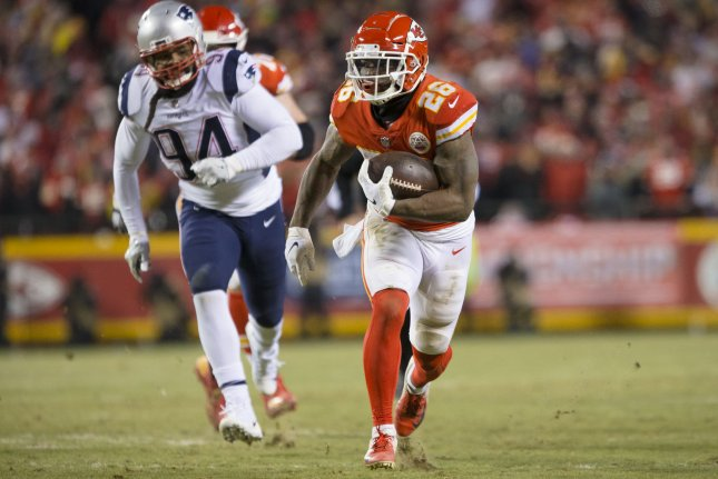 Kansas City Chiefs running back Damien Williams (26) was ruled out of Sunday's game against the New England Patriots due to a rib injury. File Photo by Kyle Rivas/UPI