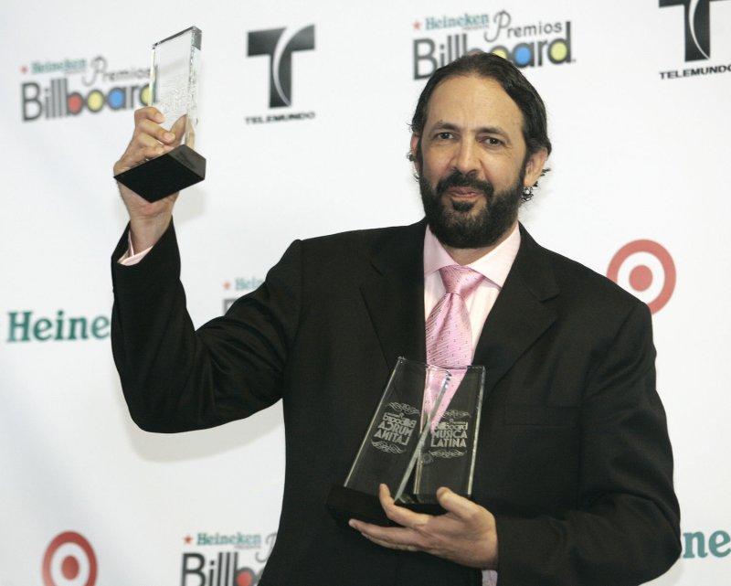 Juan Luis Guerra celebrates winning three Billboard Awards in the press room at the 2008 Latin Billboard Awards at the Seminole Hard Rock Hotel and Casino in Hollywood, Florida on April 10, 2008. (UPI Photo/Michael Bush)