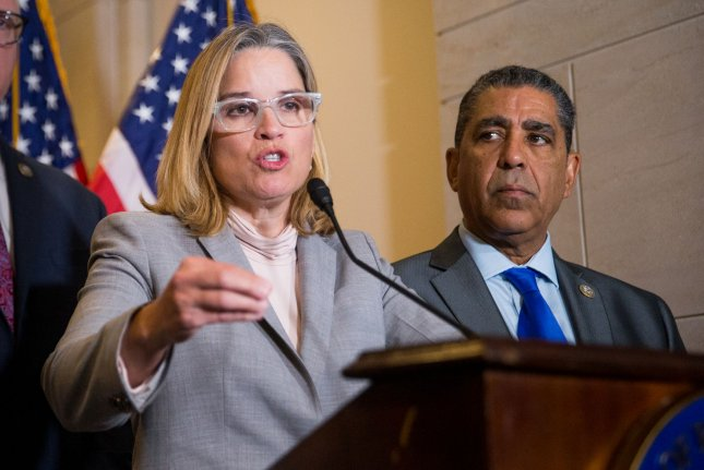 San Juan Mayor Carmen Yulin Cruz speaks to media after meeting with the House Democratic Caucus on Capitol Hill on Wednesday. About 70% of Puerto Rico remains without power in what is now the longest blackout in U.S. History. Photo by Erin Schaff/UPI