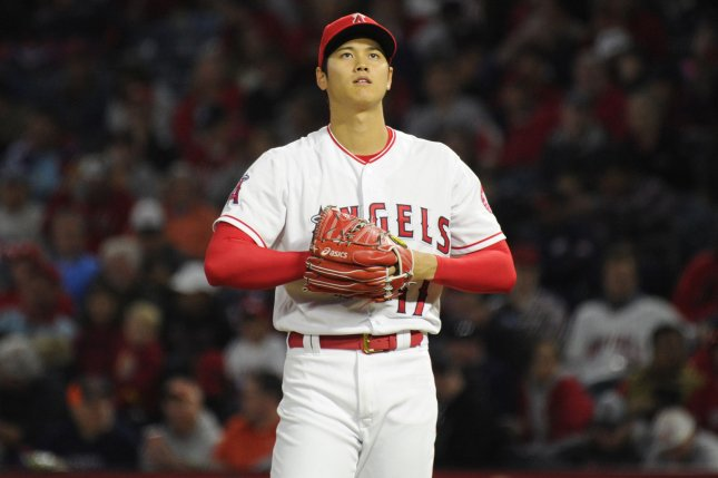 Los Angeles Angels' Shohei Ohtani looks up after loading up the bases in the second inning against the Boston Red Sox on April 17 at Angel Stadium in Anaheim, Calif. Photo by Lori Shepler/UPI