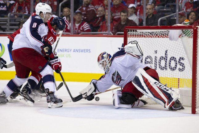 Columbus Blue Jackets goaltender Sergei Bobrovsky (72) makes a save on a shot on April 15 at Capital One Arena in Washington, D.C. Bobrovsky was suspended for Thursday night's home game against the Nashville Predators after an undisclosed incident. Photo by Alex Edelman/UPI