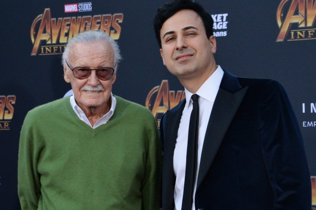 Marvel's Stan Lee and his business manager Keya Morgan attend the  premiere of Avengers: Infinity War in Los Angeles. File Photo by Jim Ruymen/UPI