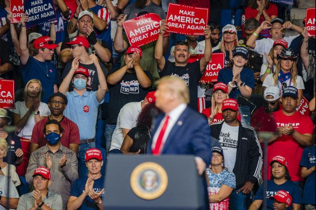 President Donald Trump speaks at a rally on June 20 in Tulsa, Okla., his first campaign event since the beginning of the coronavirus pandemic. Photo by Kyle Rivas/UPI