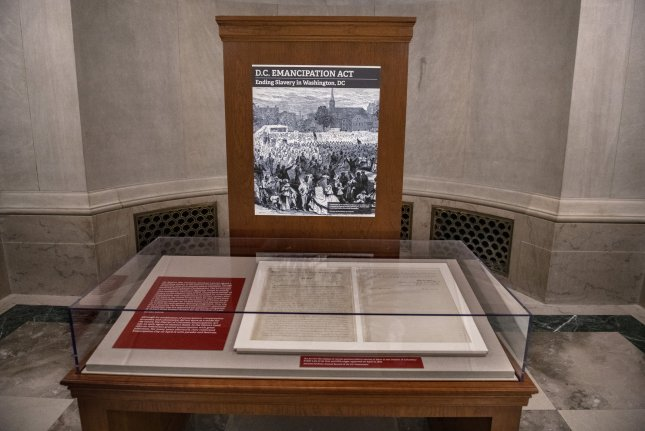 The DC Emancipation Act of April 16, 1862 is on display as a special exhibit to mark its anniversary at the National Archives Museum in Washington, DC on April 15, 2019. President Abraham Lincoln issued the proclamation freeing the slaves in Washington, DC, and then on September 22, 1962 issued the Emancipation Proclamation that freed the slaves in the United States on January 1, 1863. The documents can only be shown for 36 hours a year to preserve them. Photo by Pat Benic/UPI