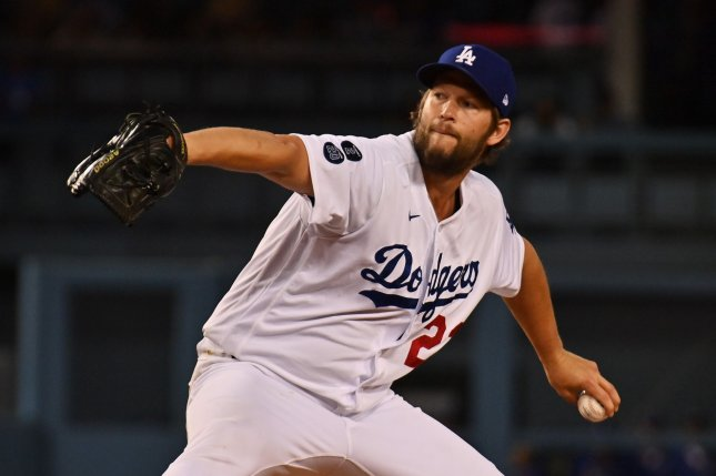 Los Angeles Dodgers starting pitcher Clayton Kershaw, shown June 11, hasn't pitched since July 3 because of a sore left elbow. File Photo by Jim Ruymen/UPI