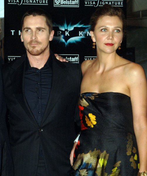 Actors Christian Bale and Maggie Gyllenhaal (l to r) pose at the world premiere in New York City for their new Batman film The Dark Knight on July 14, 2008. (UPI Photo/Ezio Petersen)