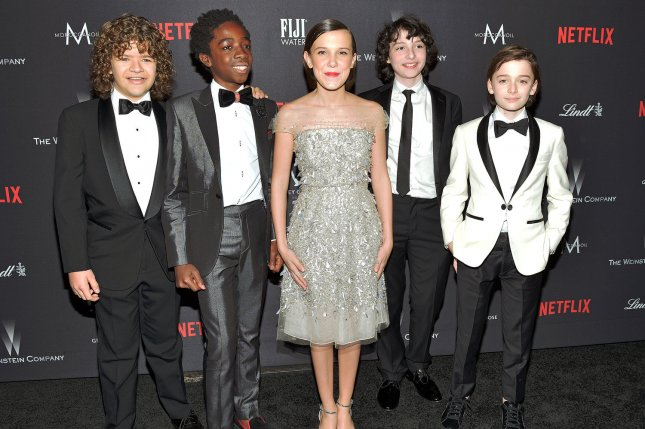 The cast of Netflix's Stranger Things series (L-R) Gaten Matarazzo, Caleb McLaughlin, Millie Bobby Brown, Finn Wolfhard and Noah Schnapp arrive at the Weinstein Company and Netflix 2017 Golden Globes after party on January 8. Netflix released a teaser trailer for Season 2 during the Super Bowl. Photo by Christine Chew/UPI