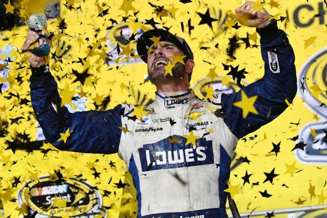 NASCAR Nationwide Series Championship driver Jimmie Johnson (48) is seen celebrating after winning the Ford EcoBoost 400 race and the Sprint Cup Series at the Homestead-Miami Speedway in Homestead, Florida on November 20, 2016. Photo By Gary I Rothstein/UPI