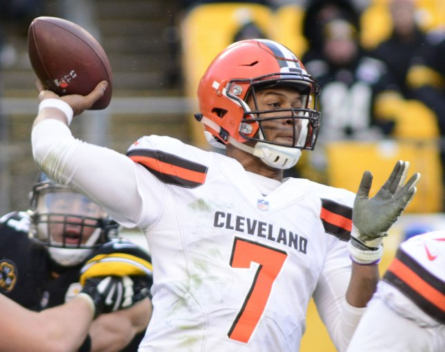 Cleveland Browns quarterback DeShone Kizer drops back to pass during a game against the Pittsburgh Steelers in December. Photo by Archie Carpenter/UPI