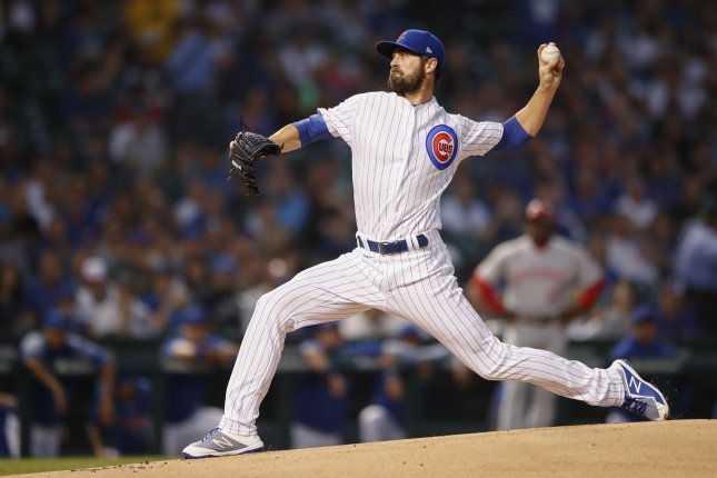 Chicago Cubs starting pitcher Cole Hamels delivers against the Cincinnati Reds in the first inning on September 14, 2018 at Wrigley Field in Chicago. Photo by Kamil Krzaczynski/UPI