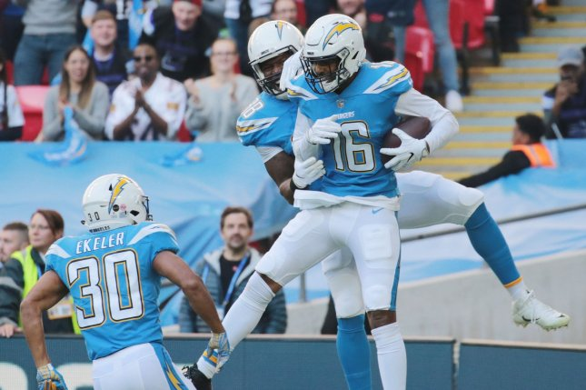 Los Angeles Chargers receiver Tyrell Williams (16) celebrates a touchdown against the Tennessee Titans on Sunday at Wembley Stadium in London. Photo by Hugo Philpott/UPI