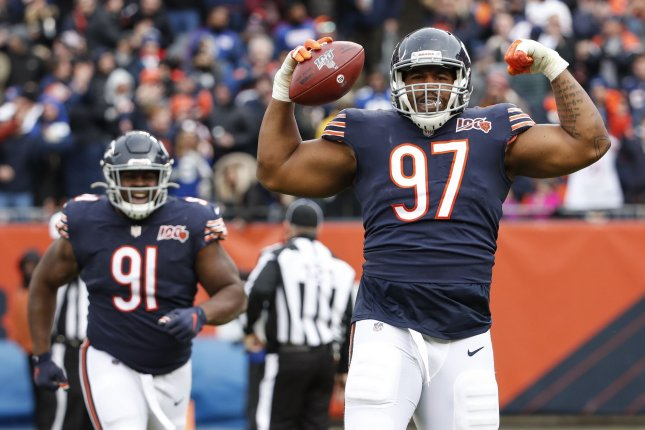 Chicago Bears defensive tackle Nick Williams celebrates after a defensive play against the New York Giants during the second half Sunday at Soldier Field in Chicago. Photo by Kamil Krzaczynski/UPI