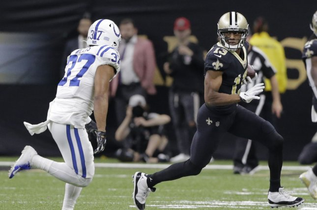 New Orleans Saints wide receiver Michael Thomas (13) finished with 12 receptions for 136 yards and one touchdown against the Tennessee Titans on Sunday. Photo by AJ Sisco/UPI