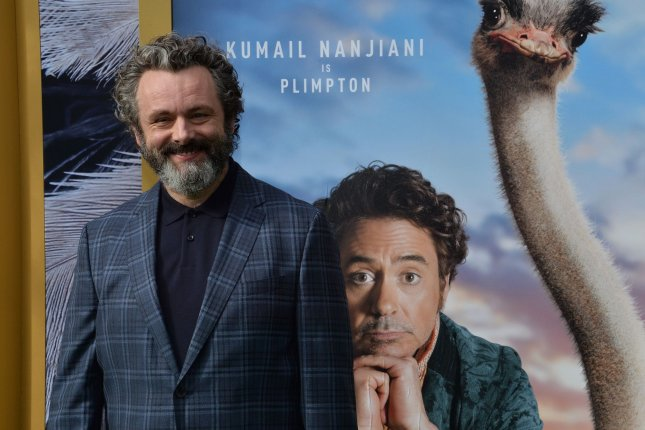 Michael Sheen will be seen in the BBC comedy Staged, starting Wednesday. File Photo by Jim Ruymen/UPI.
