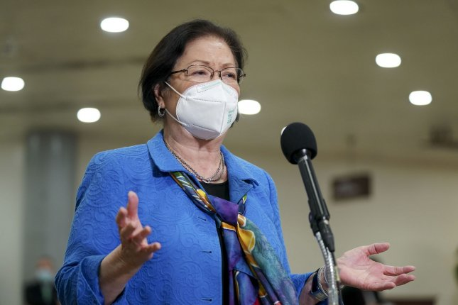 Sen. Mazie Hirono, D-Hawaii, is seen in the Capitol Subway at the U.S. Capitol in Washington, D.C., on February 12. She called on the House to pass an anti-Asian hate crime bill approved by the Senate on Thursday. File Photo by Leigh Vogel/UPI