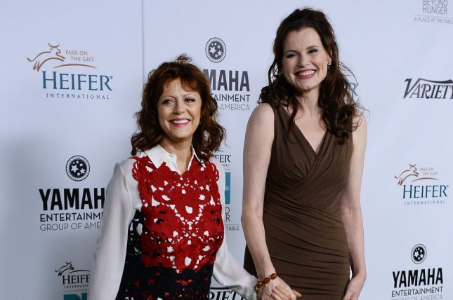 Geena Davis (R) and Susan Sarandon will celebrate the 30th anniversary of Thelma & Louise at a drive-in movie event June 18. File Photo by Jim Ruymen/UPI