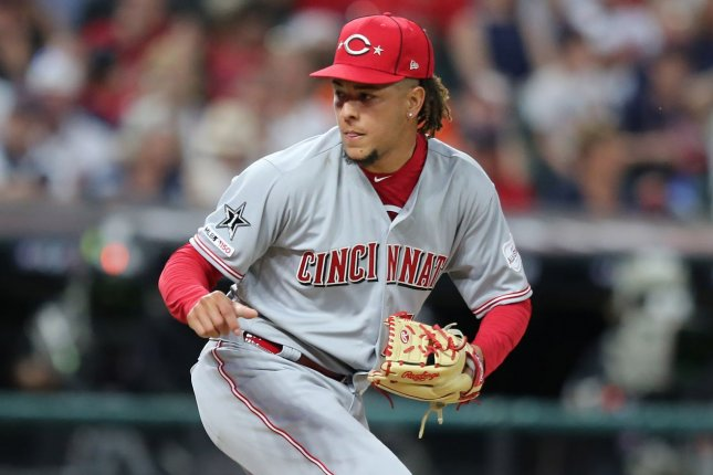 Cincinnati Reds pitcher Luis Castillo allowed three hits and issued seven strikeouts in seven shutout innings in a win over the Milwaukee Brewers on Tuesday in Milwaukee. File Photo by Aaron Josefczyk/UPI