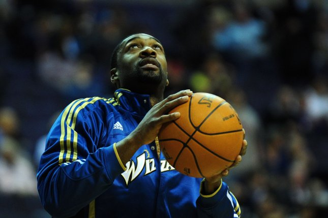 Washington Wizards' Gilbert Arenas warms up prior to playing the Los Angeles Lakers in 2010. File Photo by Kevin Dietsch/UPI