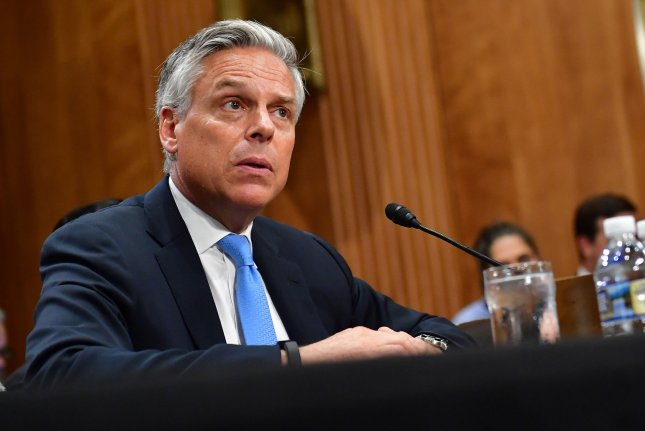Jon Huntsman Jr. testifies in the Senate on September 19, 2017, during a confirmation hearing to become U.S. ambassador to Russia. File Photo by Kevin Dietsch/UPI