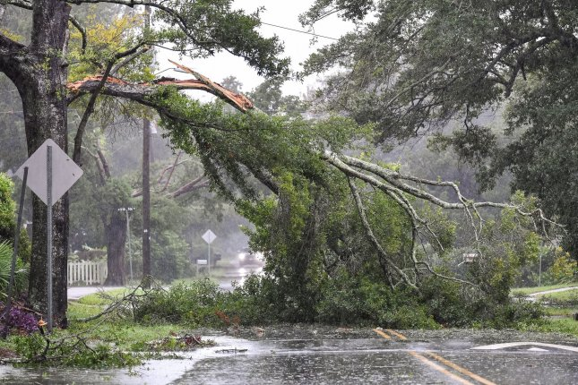 A tree branch hangs across power lines as Hurricane force winds from Category 3 Hurricane Dorian arrives in the Charleston area in Sullivans Island, S.C., on Thursday. Photo by Richard Ellis/UPI