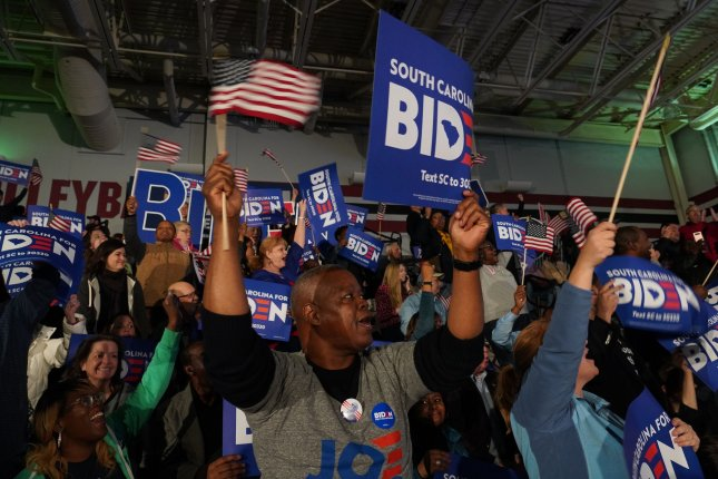Supporters of Democratic presidential candidate Vice President Joe Biden celebrated after he was declared the winner in the South Carolina primary Saturday in Columbia, South Carolina. Photo by Richard Ellis/UPI