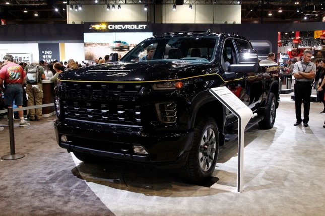 The GM plant shutdowns will affect production of Chevrolet Silverado (pictured) and GMC Sierra pickup trucks. File Photo by James Atoa/UPI
