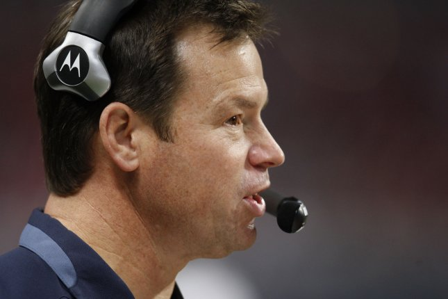 Former Seattle Seahawks head football coach Jim Mora talks on his headset during the fourth quarter against the St. Louis Rams at the Edward Jones Dome in St. Louis on November 29, 2009. Mora reportedly has been hired as head football coach at UCLA. UPI/Bill Greenblatt