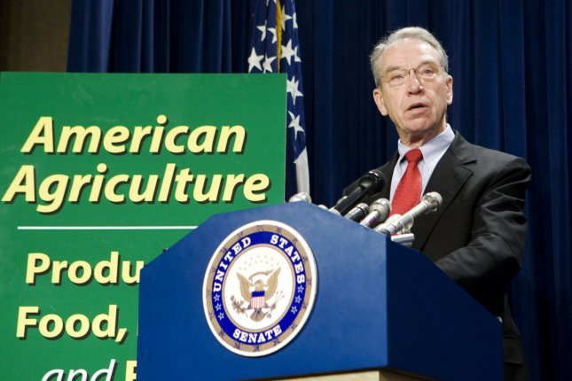 Sen. Chuck Grassley, R-IA, speaks during a news conference to dispel myths about the use of ethanol as a biofuel on Capitol Hill in Washington on May 22, 2008. (UPI Photo/Patrick D. McDermott)