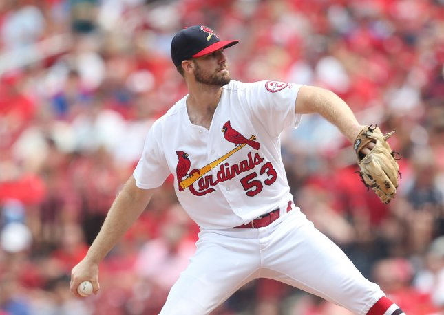 John Gant and the St. Louis Cardinals face the Detroit Tigers on Sunday. Photo by Bill Greenblatt/UPI