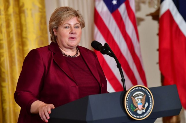 Norwegian Prime Minister Erna Solberg speaks to reporters at a news conference with U.S. President Donald Trump at the White House on January 10. Photo by Kevin Dietsch/UPI
