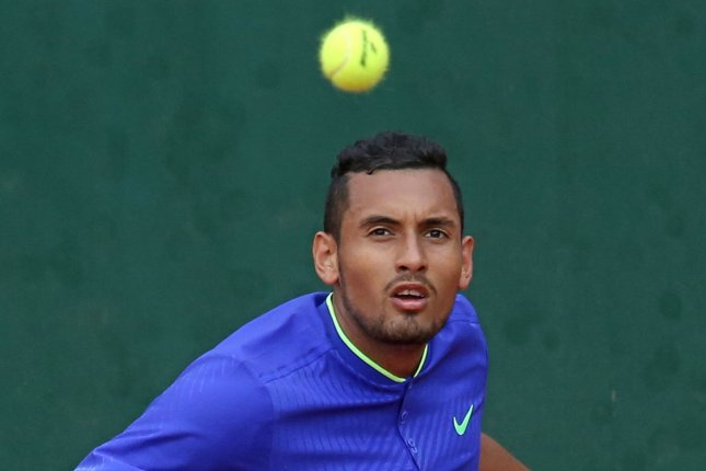 Australian Nick Kyrgios got into a spat with a fan during his win against Dusan Lajovic at the Miami Open Sunday in Miami Gardens, Fla. File Photo by David Silpa/UPI