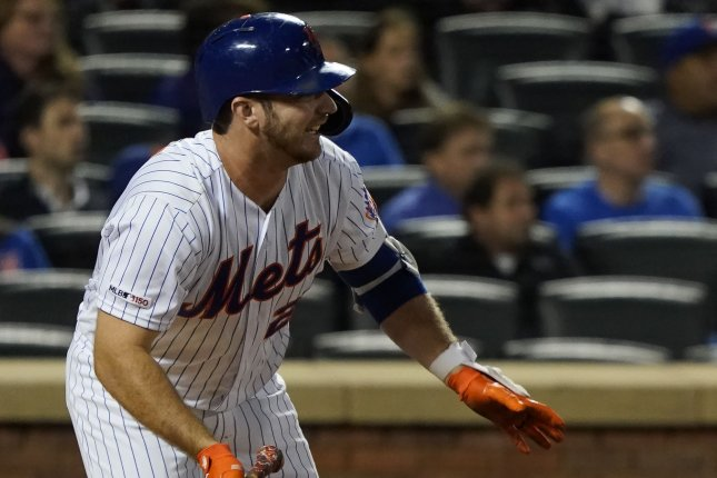 New York Mets slugger Pete Alonso set a new rookie record with 53 home runs in the 2019 season. File Photo by Ray Stubblebine/UPI