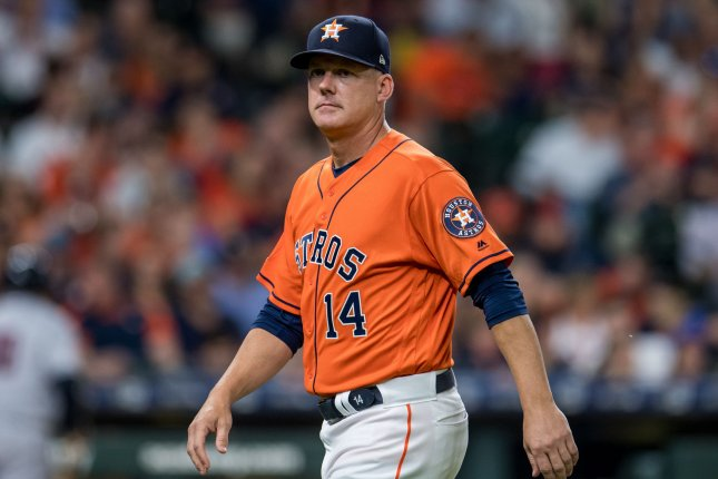 Houston Astros manager AJ Hinch (pictured) and general manager Jeff Luhnow each were handed one-season suspensions for their involvement in a sign-stealing scheme. File Photo by Trask Smith/UPI