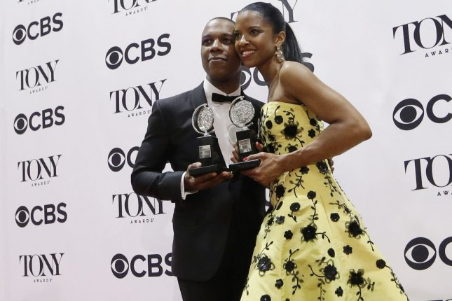 Leslie Odom, Jr. (L,) pictured with Renee Elise Goldsberry, will perform during next weekend's Oscars pre-show on ABC. File Photo by John Angelillo/UPI