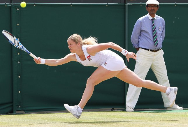 Belgium's Kim Clijsters stretches for the ball in her match with Russian Maria Kirilenko on the fifth day of the Wimbledon championships in Wimbledon on June 24, 2010.Clijsters beat Kirilenko 6-3,6-3. UPI/Hugo Philpott