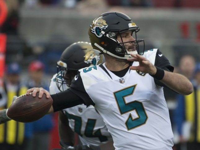 Jacksonville Jaguars quarterback Blake Bortles drops back to pass in a game against the San Francisco 49ers on Dec. 24. Photo by Terry Schmitt/UPI